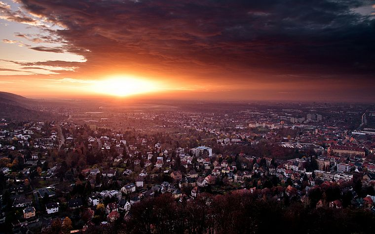 sunset, clouds, landscapes, cityscapes, Germany, architecture, houses, buildings, Karlsruhe - desktop wallpaper