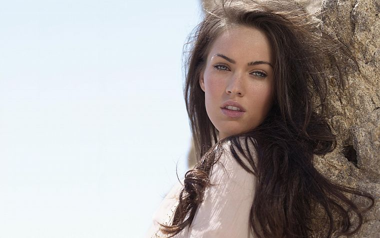 brunettes, women, water, close-up, Megan Fox, blue eyes, actress, long hair, outdoors, celebrity, faces, beaches - desktop wallpaper