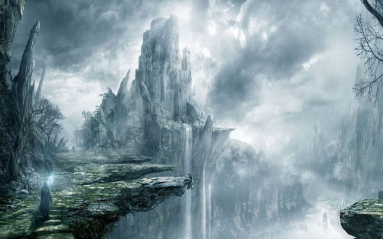 fantasy, castles, artwork, waterfalls - desktop wallpaper