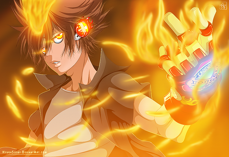 Katekyo Hitman Reborn, eyes, gloves, Sawada Tsunayoshi, anime, Tsuna, Dying Will Flames - desktop wallpaper
