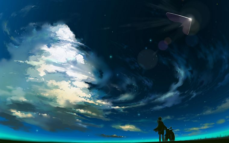 clouds, scenic, UFO, artwork, original characters - desktop wallpaper