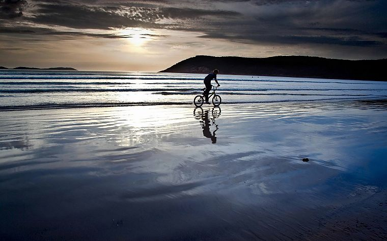 water, landscapes, bicycles, beaches - desktop wallpaper