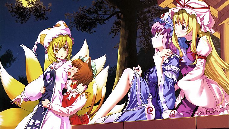 blondes, tails, video games, Touhou, dress, purple hair, animal ears, yellow eyes, Yakumo Yukari, Chen, Yakumo Ran, Saigyouji Yuyuko, anime girls - desktop wallpaper