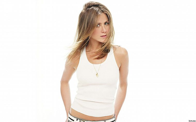 blondes, women, white, actress, Jennifer Aniston, celebrity, simple background, white background - desktop wallpaper