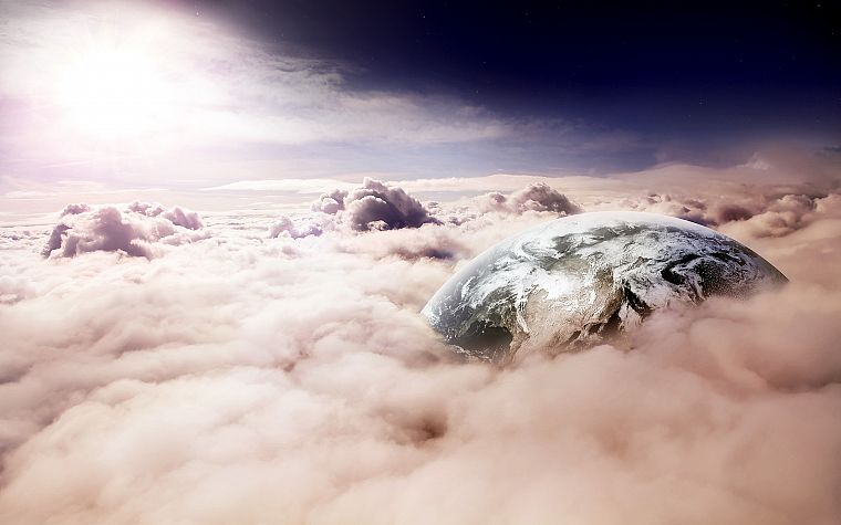 clouds, landscapes, nature, planets, skyscapes, photo manipulation - desktop wallpaper
