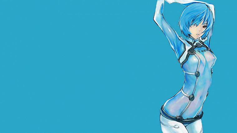 Ayanami Rei, Neon Genesis Evangelion, simple background - desktop wallpaper
