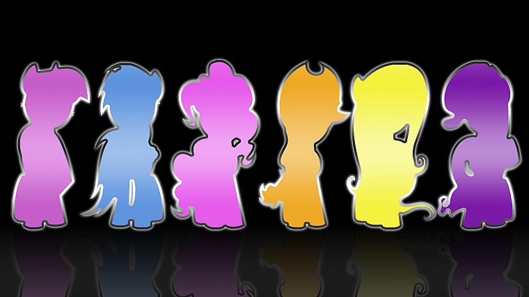 silhouettes, reflections, My Little Pony: Friendship is Magic, Mane 6 - desktop wallpaper