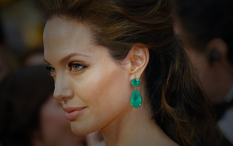 brunettes, women, actress, Angelina Jolie, faces - desktop wallpaper