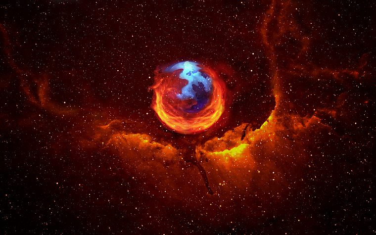 outer space, stars, planets, Firefox, Mozilla, nebulae - desktop wallpaper