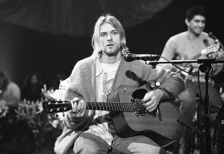 Nirvana, Kurt Cobain, monochrome, concert - desktop wallpaper