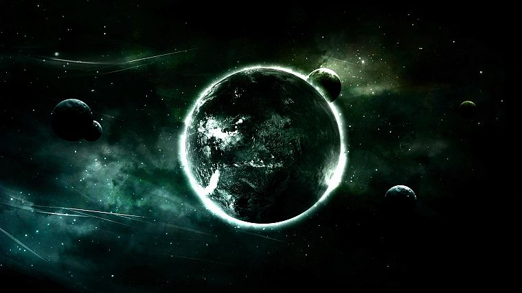 green, outer space, planets - desktop wallpaper