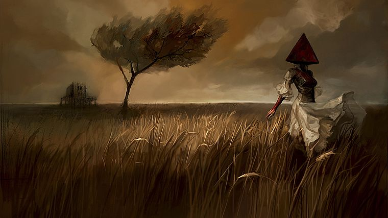 creepy, clouds, landscapes, trees, dress, fields, Silent Hill, artwork, Pyramid Head - desktop wallpaper