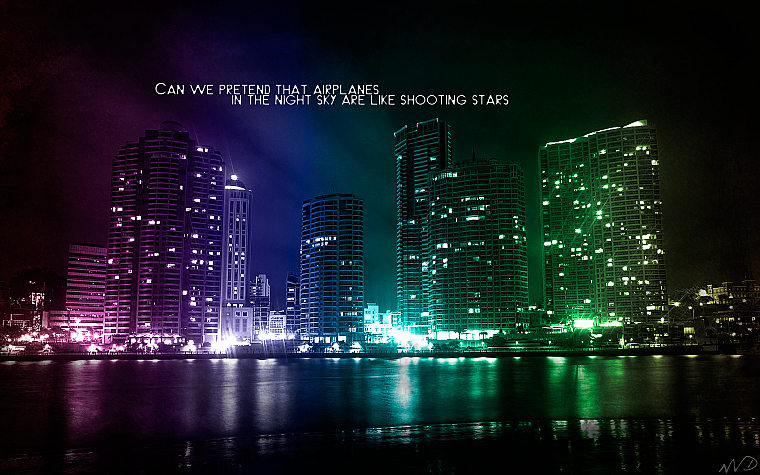 water, cityscapes, multicolor, buildings, rainbows - desktop wallpaper