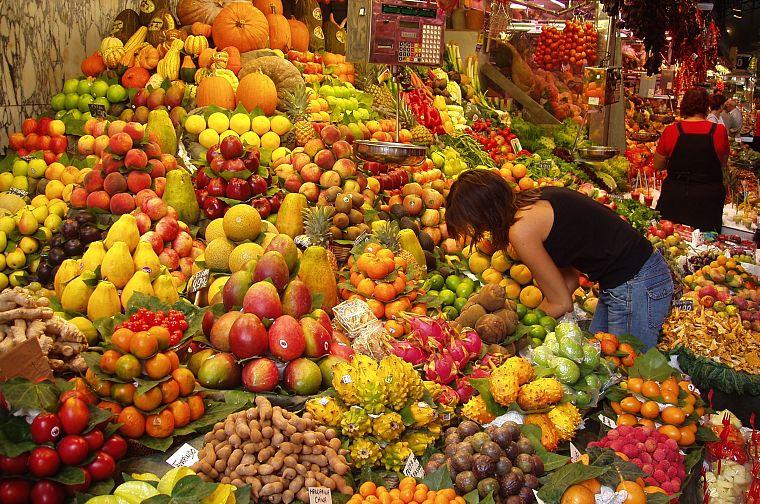 market, fruits, oranges, bananas, apples - desktop wallpaper