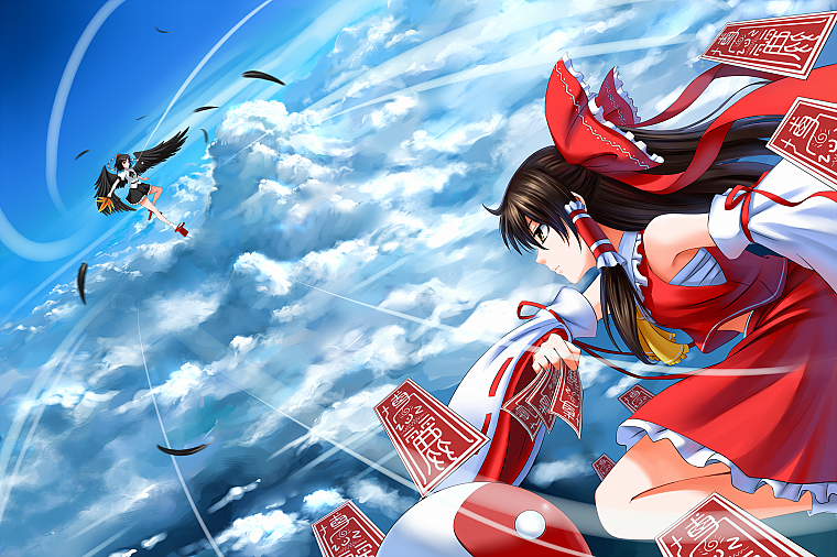 brunettes, video games, clouds, Touhou, wings, flying, fight, skirts, long hair, ribbons, socks, brown eyes, feathers, Miko, red eyes, short hair, Hakurei Reimu, battles, Shameimaru Aya, bows, red dress, ponytails, profile, skyscapes, hats, Japanese cloth - desktop wallpaper