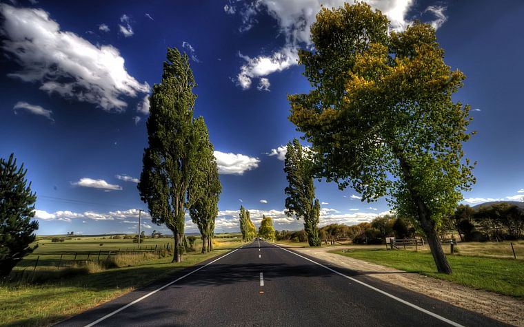 clouds, landscapes, nature, trees, roads, skyscapes - desktop wallpaper