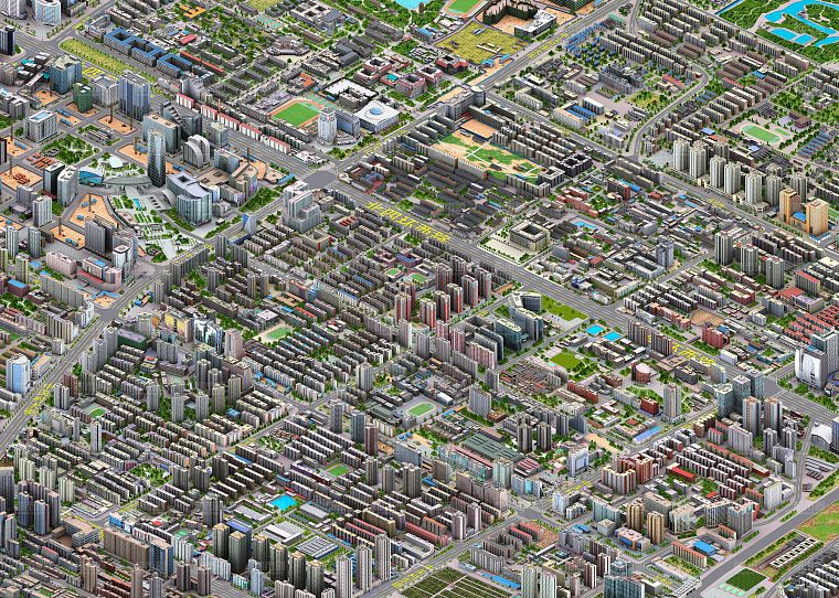 cityscapes, buildings, detailed, isometric, cities - desktop wallpaper