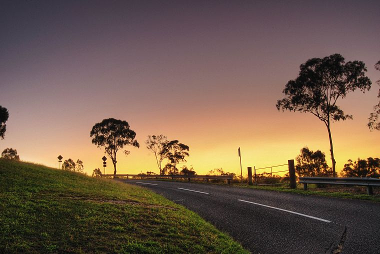 sunset, landscapes, nature, roads - desktop wallpaper