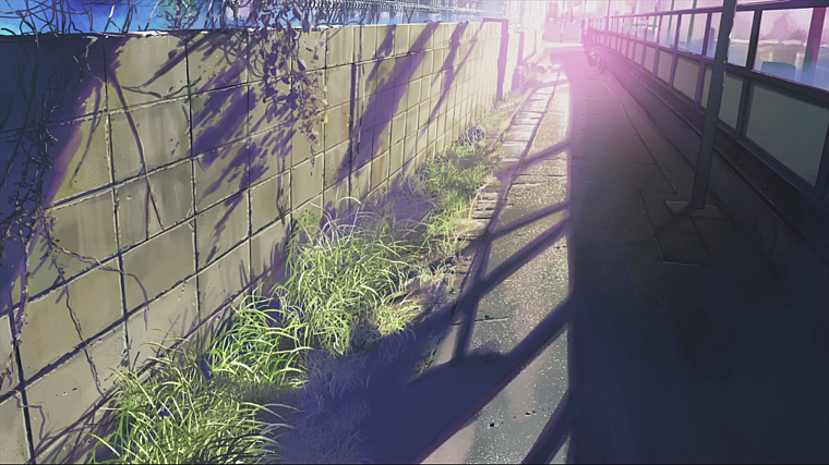 wall, Makoto Shinkai, sunlight, scenic, 5 Centimeters Per Second, artwork, anime - desktop wallpaper