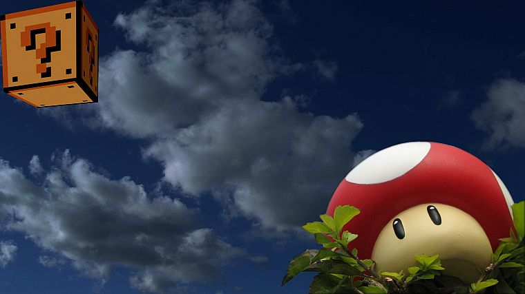 clouds, Mario, mushrooms, One Million Years B.C., One-Up - desktop wallpaper