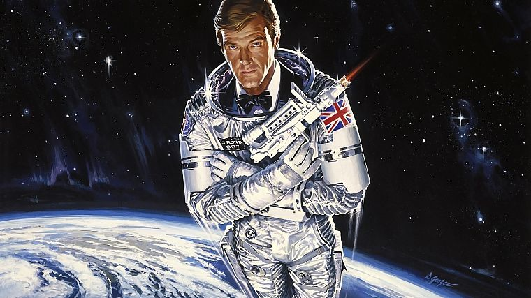 outer space, stars, James Bond, Moonraker, Roger Moore - desktop wallpaper