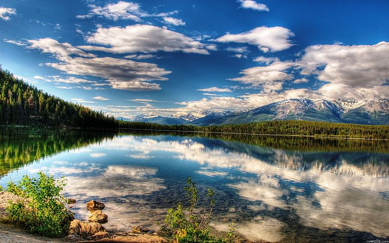 landscapes, lakes, skyscapes, reflections - desktop wallpaper