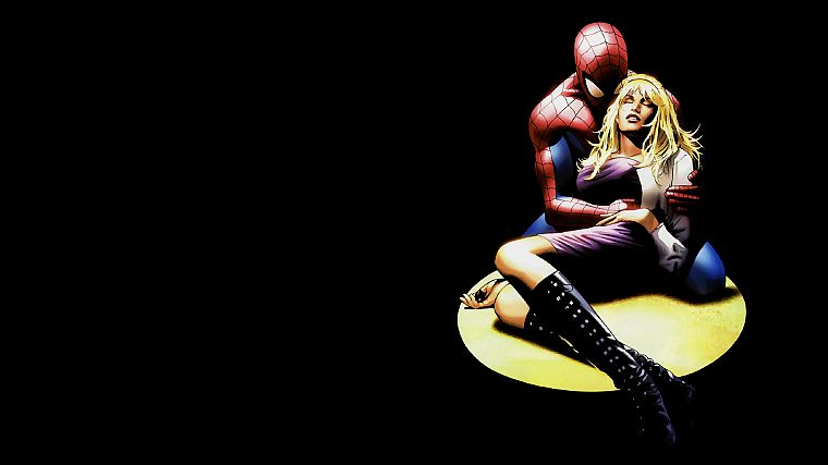 Spider-Man, Marvel Comics, Gwen Stacy, black background - desktop wallpaper