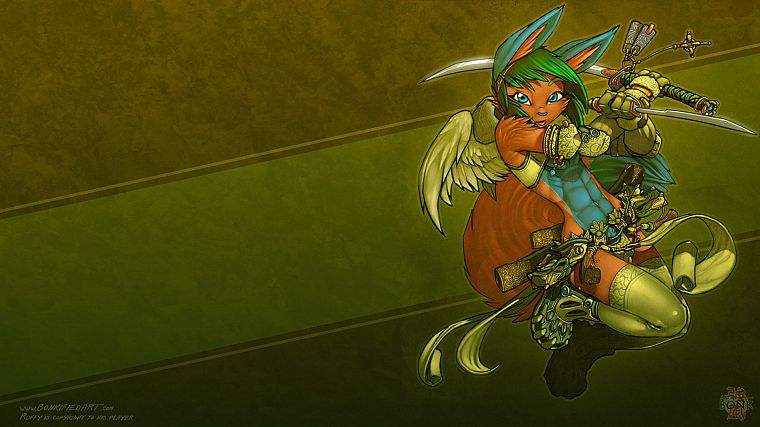 wings, katana, armor, male, anime, swords, lagomorph, Monkey D Luffy, furry, dual wield, Bonk - desktop wallpaper