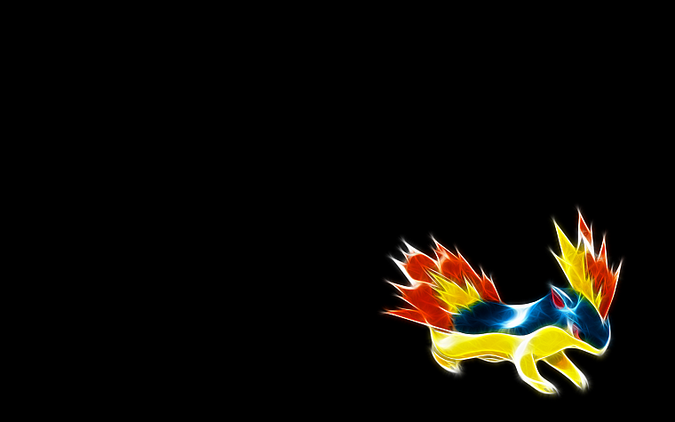 Pokemon, Quilava, black background - desktop wallpaper
