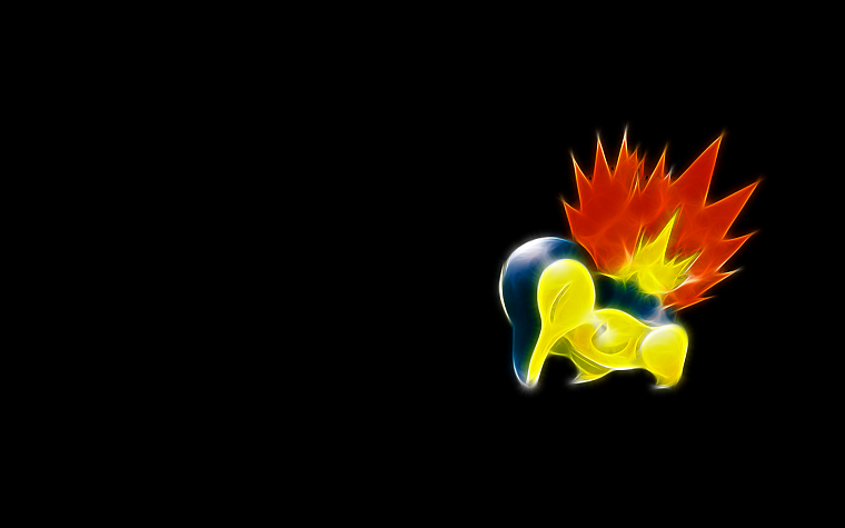 Pokemon, Cyndaquil, black background - desktop wallpaper