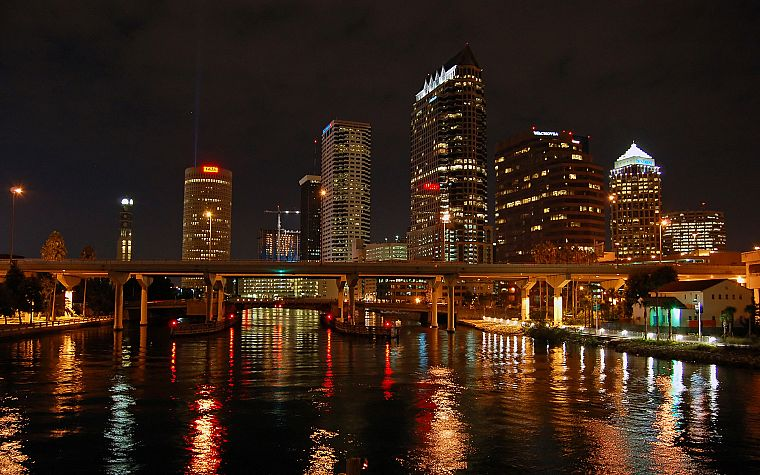 water, cityscapes, skylines, lights, architecture, bridges, buildings, Tampa Bay Lightning - desktop wallpaper