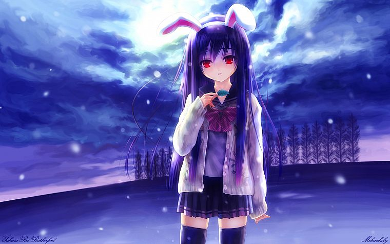 blue, clouds, winter, snow, Touhou, trees, leaves, school uniforms, schoolgirls, skirts, long hair, bunny girls, purple hair, animal ears, red eyes, thigh highs, Reisen Udongein Inaba, bows, signatures, bunny ears, skyscapes, anime girls, hair band, games - desktop wallpaper
