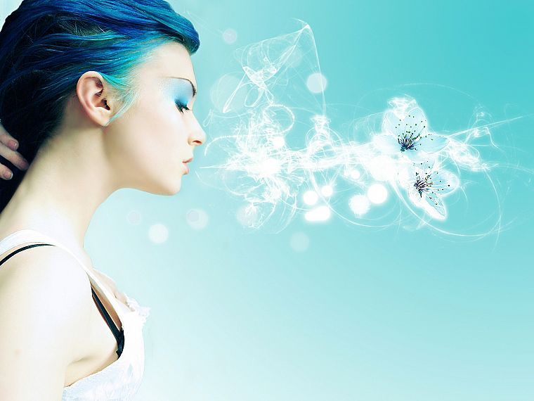 women, abstract, blue hair - desktop wallpaper