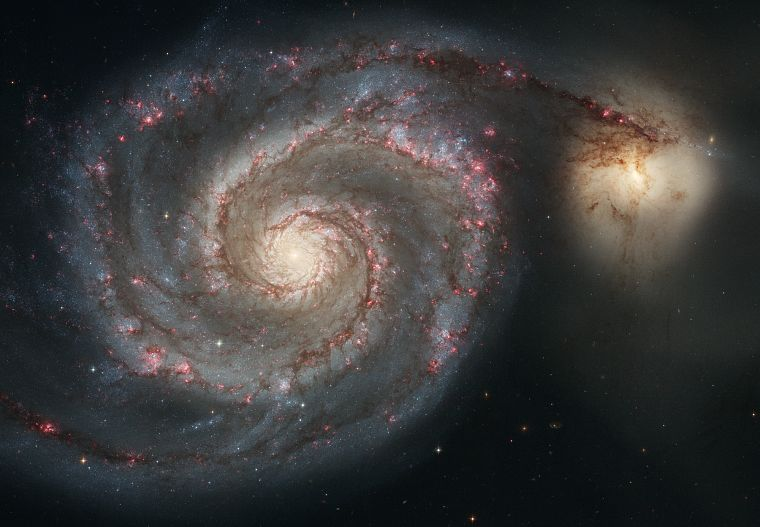 outer space, stars, galaxies, planets, Whirlpool galaxy - desktop wallpaper