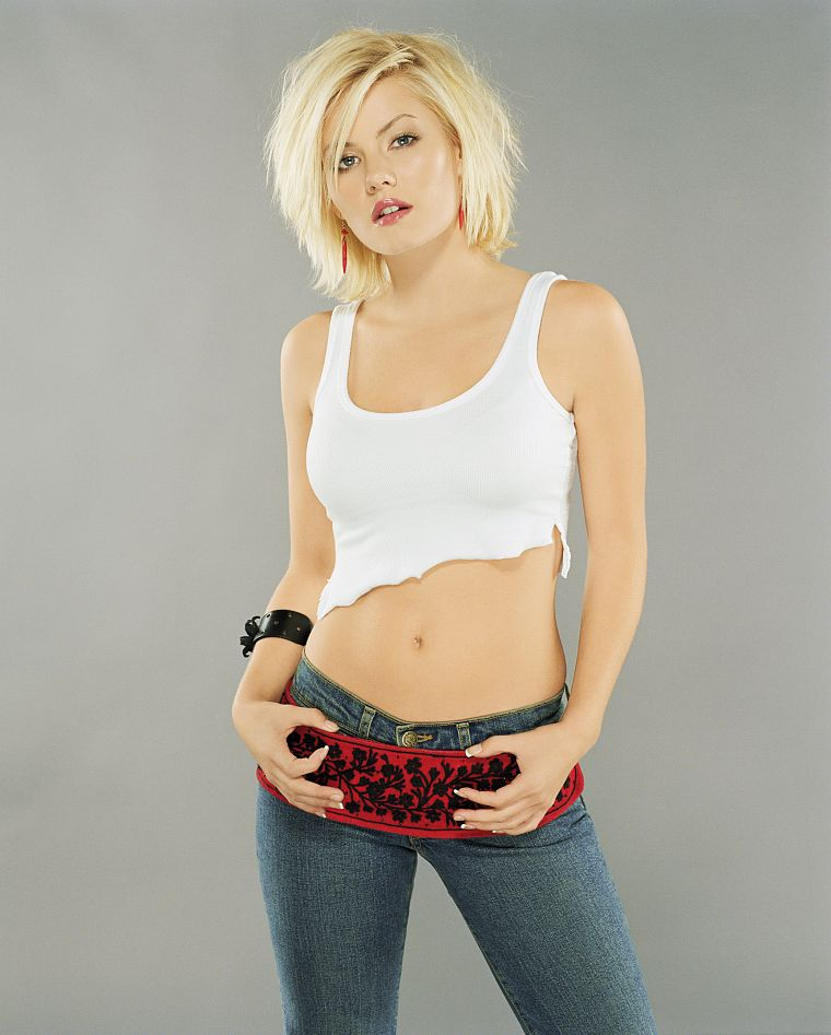 blondes, women, jeans, Elisha Cuthbert, actress, celebrity, stomach - desktop wallpaper