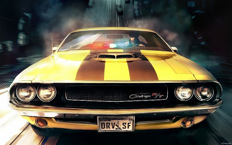 video games, cars, artwork, Driver: San Francisco, Dodge Challenger R/T - desktop wallpaper