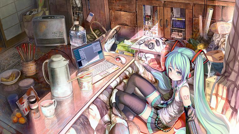 headphones, computers, Vocaloid, Hatsune Miku, food, skirts, green eyes, tights, green hair, anime, water bottles, anime girls, Ramen - desktop wallpaper
