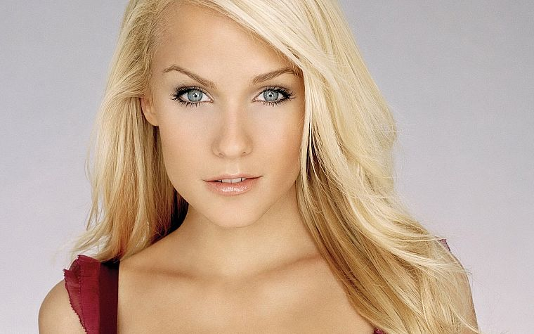 blondes, women, close-up, eyes, blue eyes, Mirjam Weichselbraun, faces - desktop wallpaper