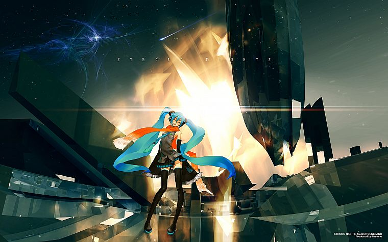 Vocaloid, Hatsune Miku, twintails, Redjuice, detached sleeves - desktop wallpaper
