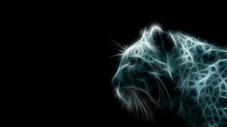 animals, tigers, Fractalius, digital art, simple background, black background - desktop wallpaper