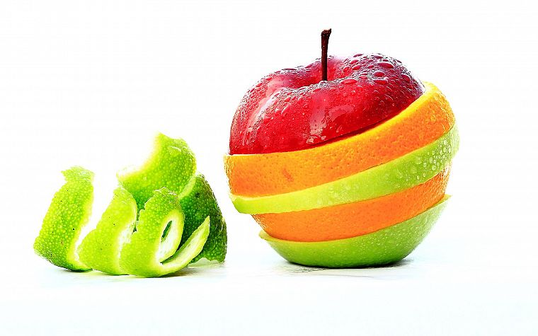 fruits, food, white background - desktop wallpaper
