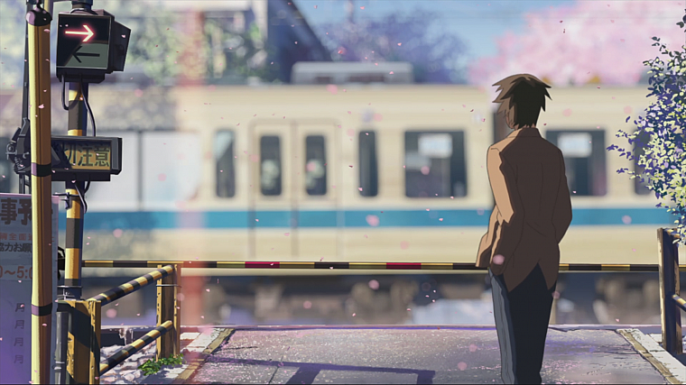 Makoto Shinkai, 5 Centimeters Per Second, artwork, anime, railroad crossing - desktop wallpaper