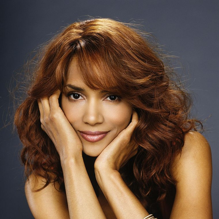 women, black people, redheads, Halle Berry, smiling, faces - desktop wallpaper