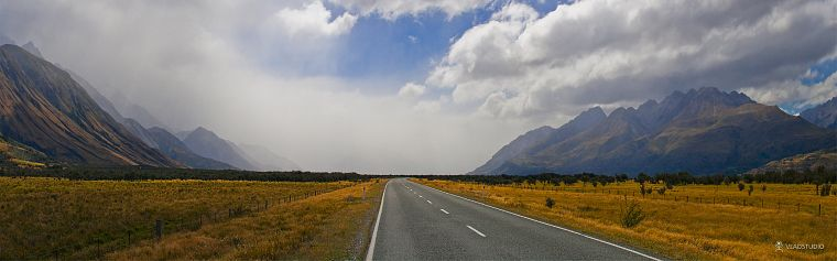 mountains, clouds, landscapes, roads, skyscapes - desktop wallpaper