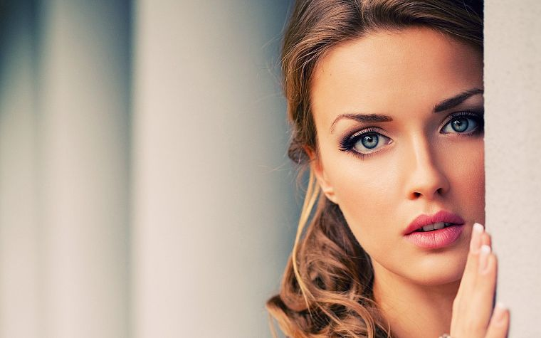 brunettes, women, blue eyes, faces - desktop wallpaper