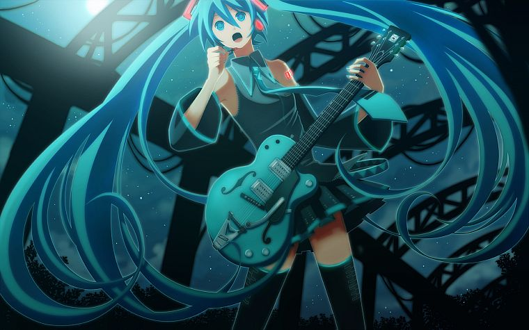 Vocaloid, Hatsune Miku, guitars, twintails, detached sleeves - desktop wallpaper