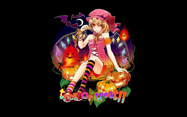 Touhou, wings, black, Halloween, Flandre Scarlet, striped legwear - desktop wallpaper