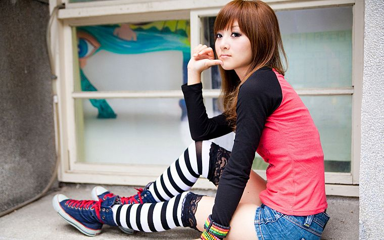 brunettes, women, Asians, shorts, Mikako Zhang Kaijie, bangs, striped legwear - desktop wallpaper