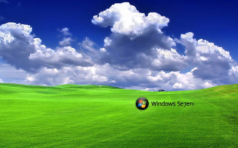 green, clouds, Windows 7 - desktop wallpaper