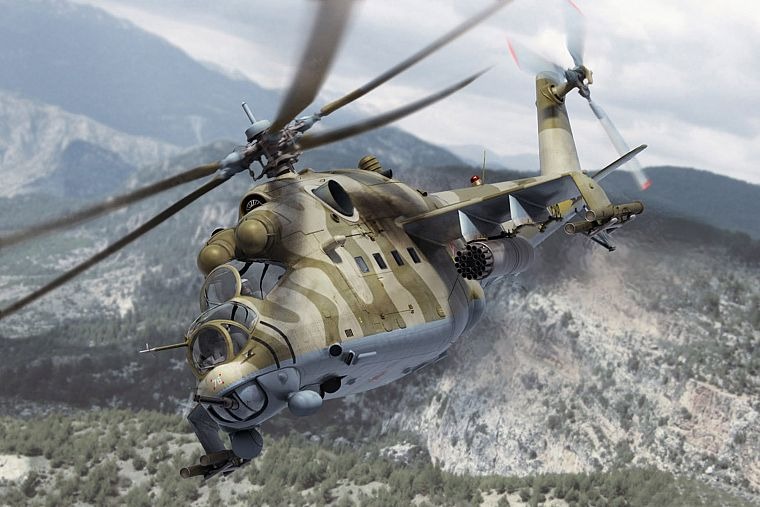 aircraft, helicopters, hind, vehicles, 3D renders, Mi-24, Mi-24 Hind - desktop wallpaper